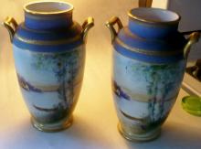 NIPPON PAIR OF VASES WITH BOAT ON LAKE SCENE