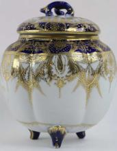 JAPANESE NIPPON 3-FOOTED CRACKER JAR