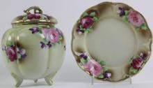 NIPPON 3-FOOTED ROSE CRACKER JAR AND UNDER PLATE