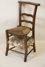 ANTIQUE FRENCH CHILD'S FOLDING RUSH TALL SEAT