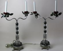(2) FREDERICK COOPER MARBLE & TOLE ROSE LAMPS