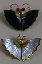 MOTHER OR PEARL AND JADE WITH CORAL BUTTERFLY PINS