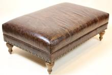 ENGLISH OVERSIZED NAIL TRIMMED LEATHER OTTOMAN