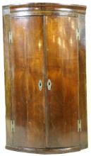 ENGLISH ANTIQUE MAHOGANY BOW FRONT CORNER CUPBOARD