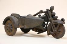 VINTAGE CAST IRON MOTORCYCLE TOY WITH SIDECAR