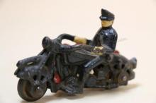 VINTAGE CAST IRON RIDER ON MOTORCYCLE W/ SIDE CAR
