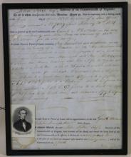 JOHN TYLER SIGNED VIRGINIA LAND DEED 1826
