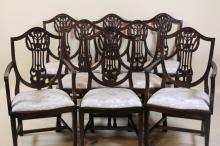 MAHOGANY SHIELD BACK DINING CHAIR SET OF 8