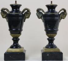 MARBLE AND BRONZE VINTAGE LAMP BASES
