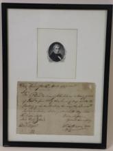 WILLIAM HENRY HARRISON LETTER SIGNATURE APRIL 1797