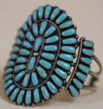 NATIVE AMERICAN PETIT POINT TURQUOISE & STERLING