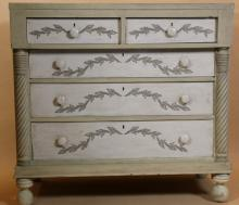 ENGLISH PAINT DECORATED VINTAGE CHEST