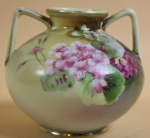 NIPPON TWIN HANDLED PAINTED VASE