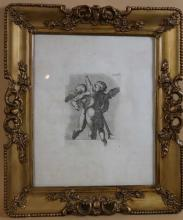 ANTIQUE ENGRAVING OF WINGED CHERUBS