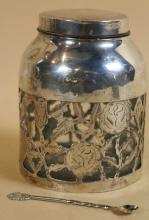 STERLING SILVER OVERLAY JAR WITH SERVICE SPOON