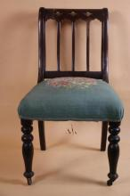 ANTIQUE NEEDLEPOINT MAHOGANY SIDE CHAIR