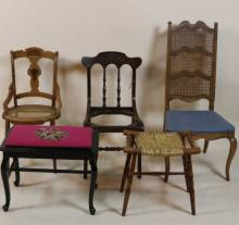 5 PC MISC. CHAIR AND BENCH LOT
