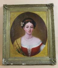 AMERICAN NY ANTIQUE PORTRAIT OF A YOUNG MAIDEN