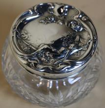 STERLING ART NOUVEAU LADIES DRESSER JAR
