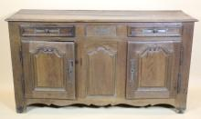 FRENCH ANTIQUE COUNTRY OAK BUFFET HAND PEGGED