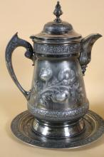 RODGERS & BROTHERS SP COFFEE POT & UNDER PLATE