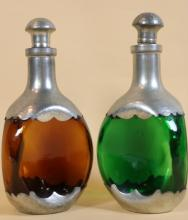 VINTAGE PEWTER AND BLOWN GLASS DECANTER SET