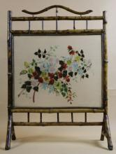 ENGLISH ANTIQUE BAMBOO & PRESSED FLOWER SCREEN