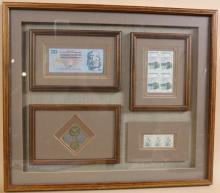 FRAMED SHADOW BOX WITH STAMPS AND CURRENCY