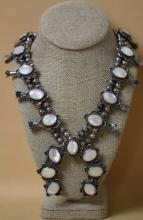 ZUNI NM MOTHER OF PEARL SQUASH BLOSSOM NECKLACE