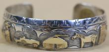 NAVAJO STERLING SILVER / GOLD CUFF BY T.A. BEGAY