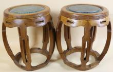 CHINESE INSET  MARBLE TOP MELON STOOL TABLES