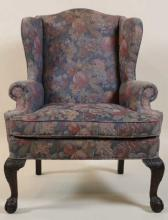 ENGLISH ANTIQUE CHIPPENDALE BALL & CLAW WING BACK