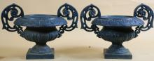 ANTIQUE PAIR CAST IRON TWIN HANDLED URNS