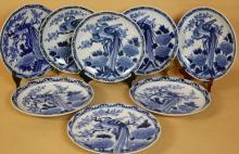 CHINESE BLUE & WHITE PEACKOCK PLATE SET OF EIGHT