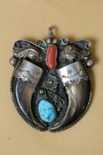 NATIVE AMER. STERLING CLAW PENDANT TURQUOISE/CORAL