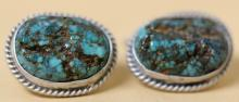 STERLING & TURQUOISE NATIVE AMERICAN CUFF LINKS