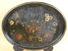 VINTAGE TOLE STILL LIFE HAND PAINTED TRAY