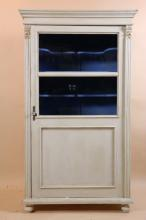 PAINTED VITRINE WITH SCALLOPED SHELVING