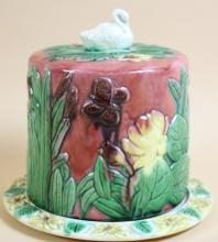 MAJOLICA  COVERED BUTTER DISH