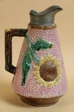 MAJOLICA SUNFLOWER PITCHER WITH PEWTER LID