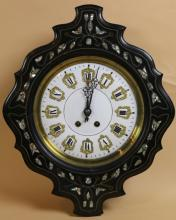 MOTHER OF PEARL INLAID HANGING CLOCK