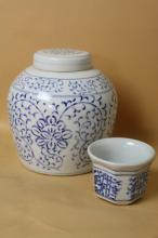 CHINESE BLUE & WHITE PORCELAIN POT AND CUP