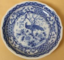 CHINESE BLUE AND WHITE PEACOCK PLATE