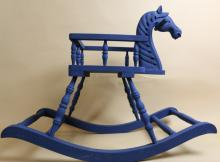 CHILD'S BLUE PAINTED VINTAGE ROCKING HORSE
