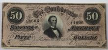 RICHMOND 1861 ANTIQUE CONFEDERATE $50 NOTE