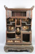 JAPANESE IVORY FLORAL CARVED WEDDING CABINET