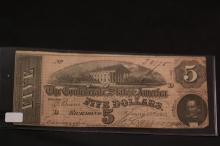 CONFEDERATE STATES OF AMERICA FIVE DOLLAR NOTE