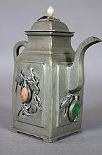 CHINESE ANTIQUE PEWTER JADE MOUNTED TEA POT