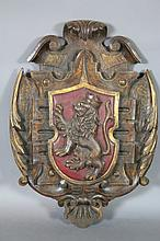 HAND CARVED ANTIQUE COAT OF ARMS  PLAQUE