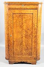 ANTIQUE TIGER MAPLE BLIND FRONT CORNER CUPBOARD
